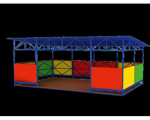 Теневой навес для детских садов с лавками с трех сторон